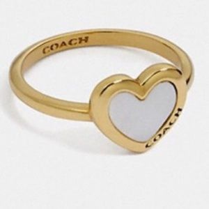 NWT Coach gold heart ring size 6